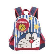 Doraemon กระเป๋าเป้ กระเป๋านักเรียน กระเป๋าสะพายหลัง สีกรมคาดแดง เป็นต้นฉบับ