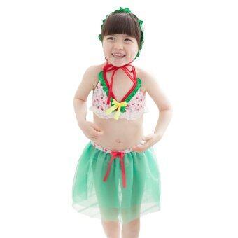 DUDUMUMU ชุดว่ายน้ำสำหรับเด็ก พร้อมหมวกกันแดด (GreenPink)