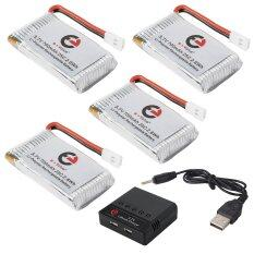 E+value 4 In 1 Charger + 4x 3.7v 700mah Lipo Battery For Syma X5c X5a F5c.