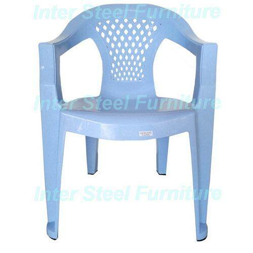 Inter Steel เก้าอี้พลาสติก รุ่น Arms Plastic Chair(a) - ผิวลายหินอ่อนฟ้า.