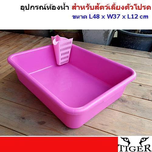 Petheng กระบะทรายแมว อุปกรณ์ห้องน้ำ สำหรับสัตว์เลี้ยงตัวโปรด ขนาด L48 X W37 X L12 Cm. แถมที่ตักทราย ฟรี ! คละสี.