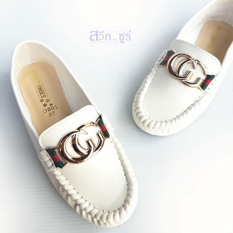 รองเท้าคัทชูผู้หญิงหุ้มส้นรุ่น Cc (สีขาว).