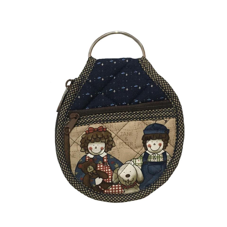 กระเป๋าใส่กุญแจ ทรงกลม (ขนาดใหญ่ 5x5 นิ้ว) กระเป๋าใส่เหรียญ ด้านหน้าผ้าแคนวาสสีครีม/ด้านหลังผ้าทอญี่ปุ่นสีน้ำเงิน.