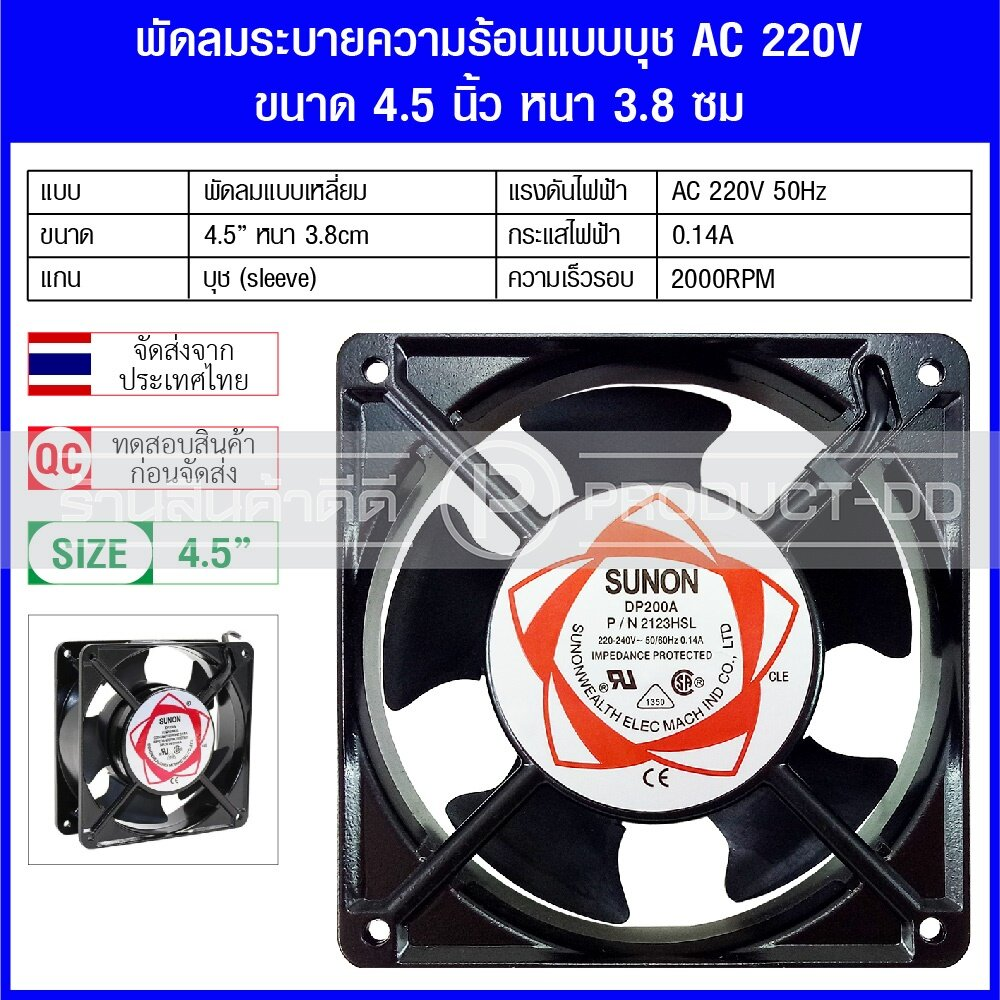 พัดลมระบายความร้อน แบบเหลี่ยม แกนบุช Sleeve ใช้ไฟ Ac 220v ขนาด 4.5 นิ้ว หนา 3.8 ซม..