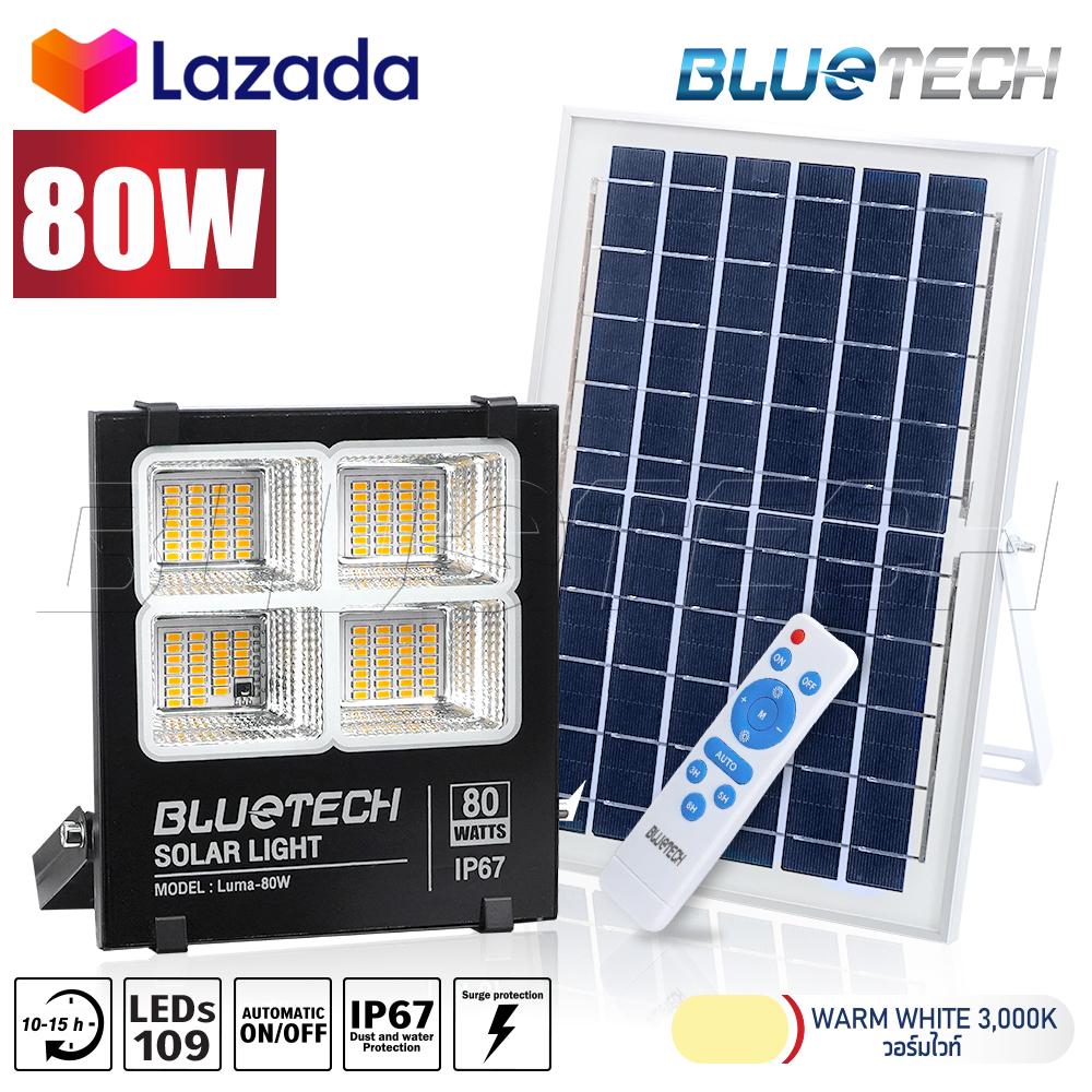 Bluetech USA ไฟโซล่าเซลล์ ไฟสปอร์ตไลท์ Solar Cell LED Floodlight Spotlight 60 / 80 / 100 / 200 / 300 วัตต์, ไฟ 4ช่อง รีโมทดีไซน์ใหม่ กันน้ำ IP67 เปิดได้ตลอดคืน รับประกัน 1ปี