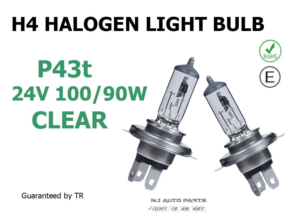 หลอดไฟหน้ารถ H4 24v 100/90w P43t Halogen Bulb สว่างโร่อลังการ ของแท้ Guaranteed By Tr.