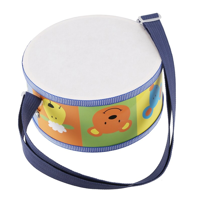 Wooden Drum Music Instrument for Children with Colorful Animals, Straps and Drumsticks