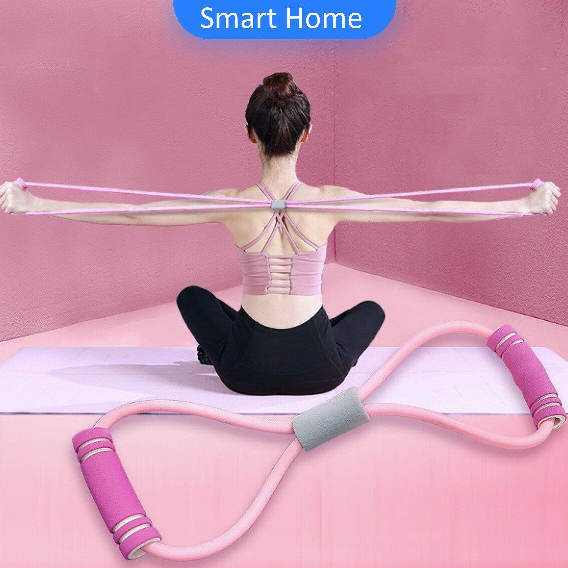 ยางยืดเลข 8 บริหารร่างกาย ผู้เริ่มต้นบริหารกล้ามเนื้อ หรับออกกำลังกายและ โยคะ * อุปกรณ์บริหารต้นขา Yoga 8 Words Strengt.