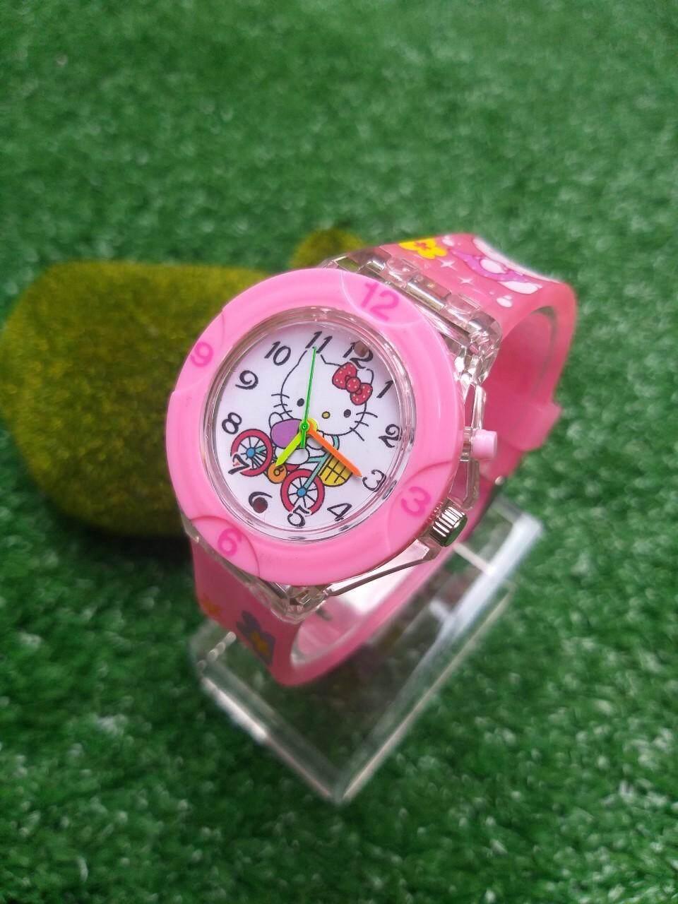 นาฬิกาข้อมือแฟชั่นคิตตี้ เกรดพรีเมียมหน้าจอมีไฟเเละมีเสียงเพลงกันน้ำ (ไม่พร้อมกล่อง).