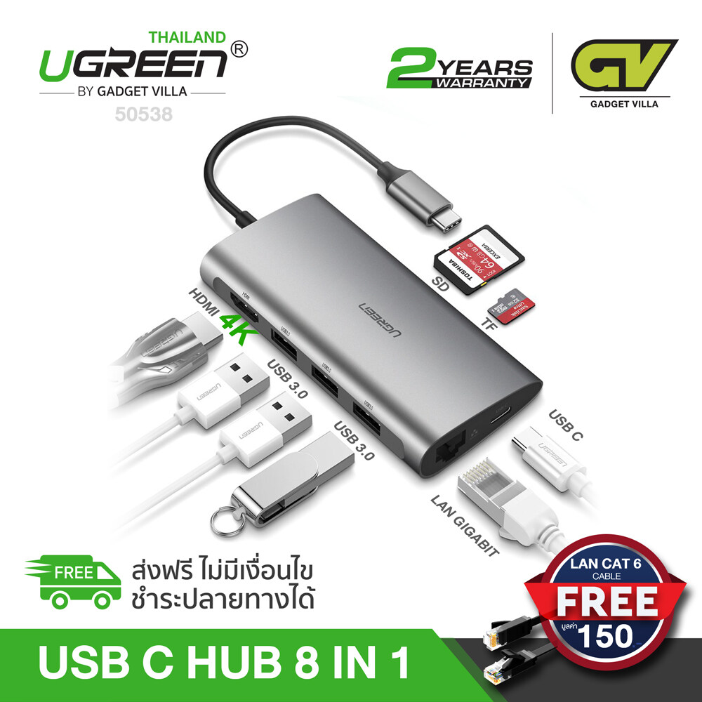 Ugreen Usb C Usb3.1 Type C Hub 8 ใน 1 Usb Hub All In One Usb C To Hdmi Card Reader Lan Pd Charging Adapter 4k รุ่น 50538 For Huawei Mate 10/ P20/ P30, Microsoft Surface, Apple Macbook, Macbook Pro, Samsung Galaxy S8/+ / Note8/ S9/+ / Note9/ S10/+.