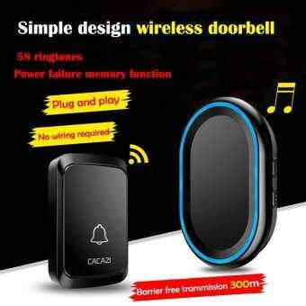 Cacazi Wireless DoorBell Waterproof Smart Wireless Remote Control Door Bell 300M Range For Home And Officeกระดิ่งไร้สาย กระดิ่งบ้าน กระดิ่งประตู กริ่งไร้สาย กริ่งประตูบ้าน Doorbell มี 58 เสียงดนตรี Doorbell
