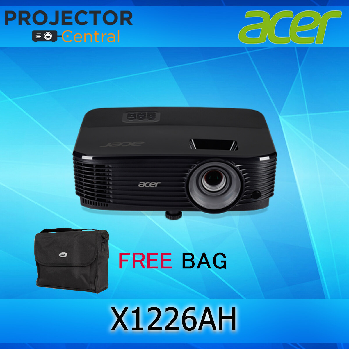 Acer X1226ah Dlp Projector เครื่องฉายภาพโปรเจคเตอร์ รุ่น X1226ah การรับประกันตัวเครื่อง 3 ปี Free กระเป๋าโปรเจคเตอร์.