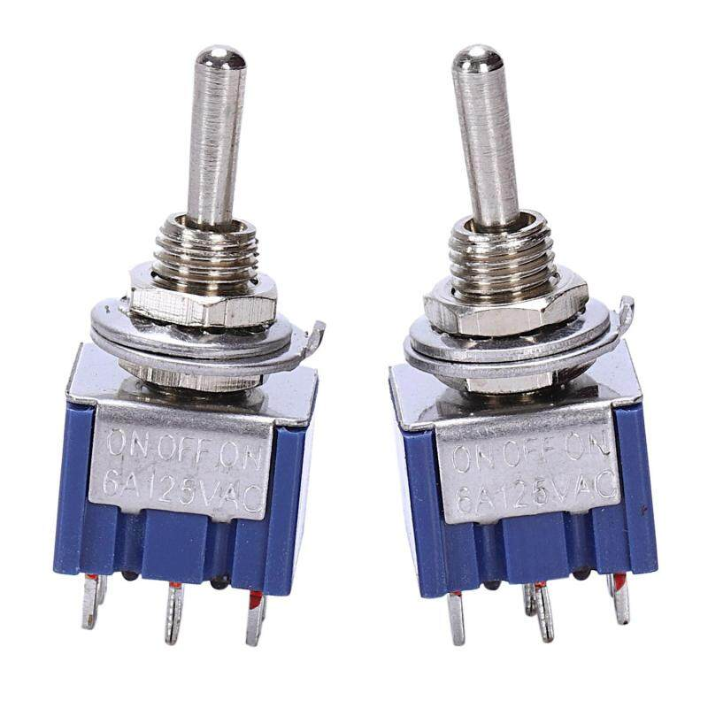 AC 125V 6A 6 Pin Spdt On/Off/On 3-Way Mini Toggle Switch For Electric Guitar Parts, Blue (Pack Of 2) Malaysia