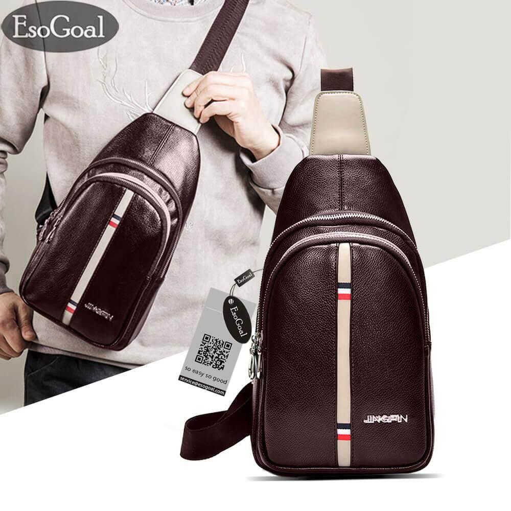 EsoGoal Men Crossbody Bag Men s Sling Bag PU Leather Chest Shoulder  Backpack Cross Body Purse Water c2cd748c5692f