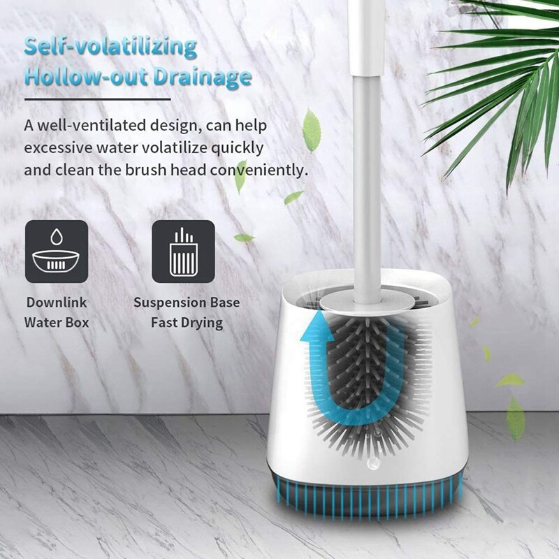 Giá Toilet Brush and Base Kit with Aluminum Handle and Soft Silicone Bristles Sturdy Clean Toilet Brush Set Cleaner