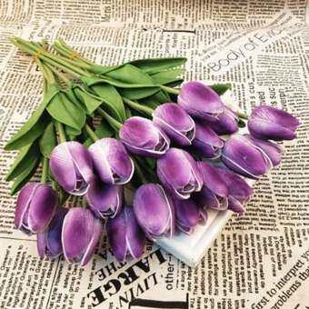 Paight 10 ชิ้นดอกไม้ประดิษฐ์ดอกทิวลิปตกแต่งบ้านดอกไม้ปลอม - นานาชาติ-