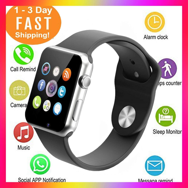 นาฬิกาโทรศัพท์ 2019 Smart Watch A1/w8/g08 รองรับภาษาไทย จอสัมผัส Hd  - สีดำ.