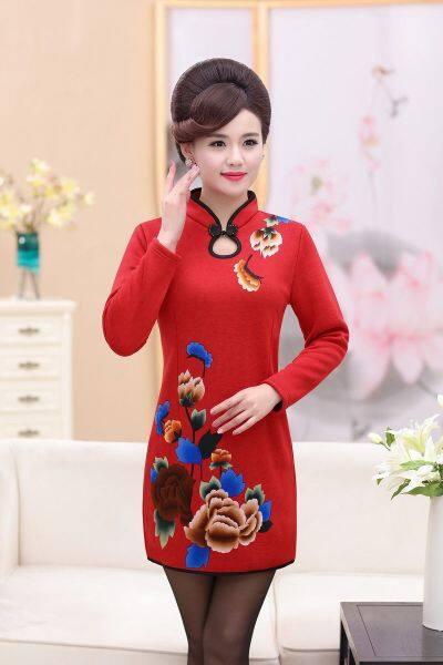Mùa thu mới của mẹ và mùa đông, nhung dày đặc hàng ngày, váy cheongsam được in trơn cho phụ nữ trung niên và già ZU1F