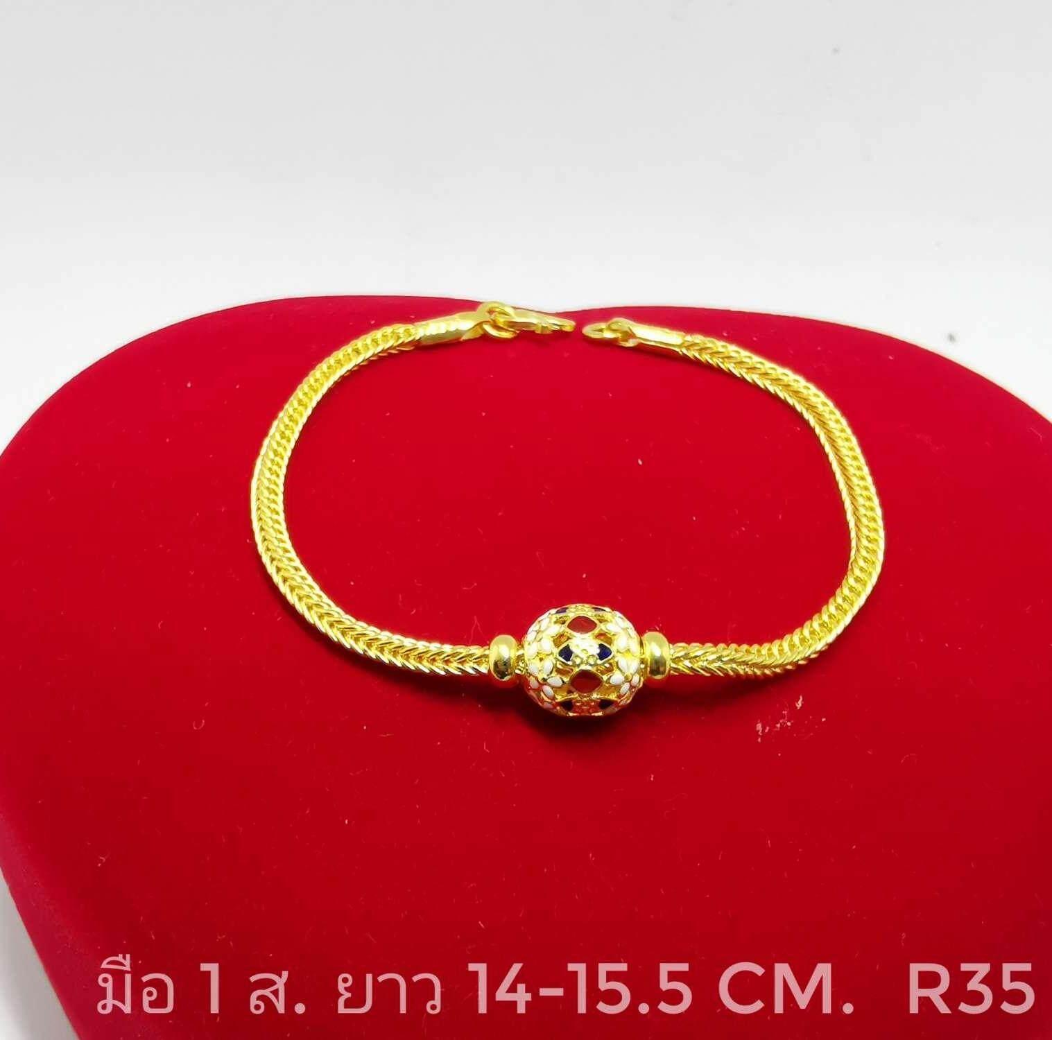 สร้อยข้อมือ สร้อยข้อมือทองแท้ 1 สลึง(3.8g) ทองแท้มาตรฐานทองคำเยาวราช 96.5%(22k) ยาว 15-16 Cm. ขายได้จำนำได้ มีใบรับประกัน By Thongsuay By Thongbai.