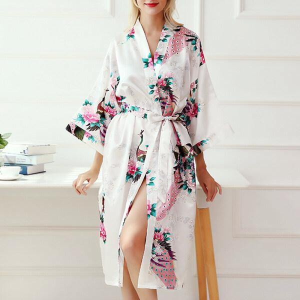 Nơi bán Áo Choàng Kimono Phù Dâu Poppet Đồ Ngủ Lụa Hình Con Công Áo Choàng Tắm, Quần Áo Ngủ, Áo Choàng Ngủ