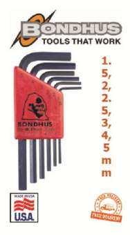 ชุดประแจหกเหลี่ยมตัวแอล แบบสั้น สีดำ 1.5-5mm 6 ขนาด BONDHUS-