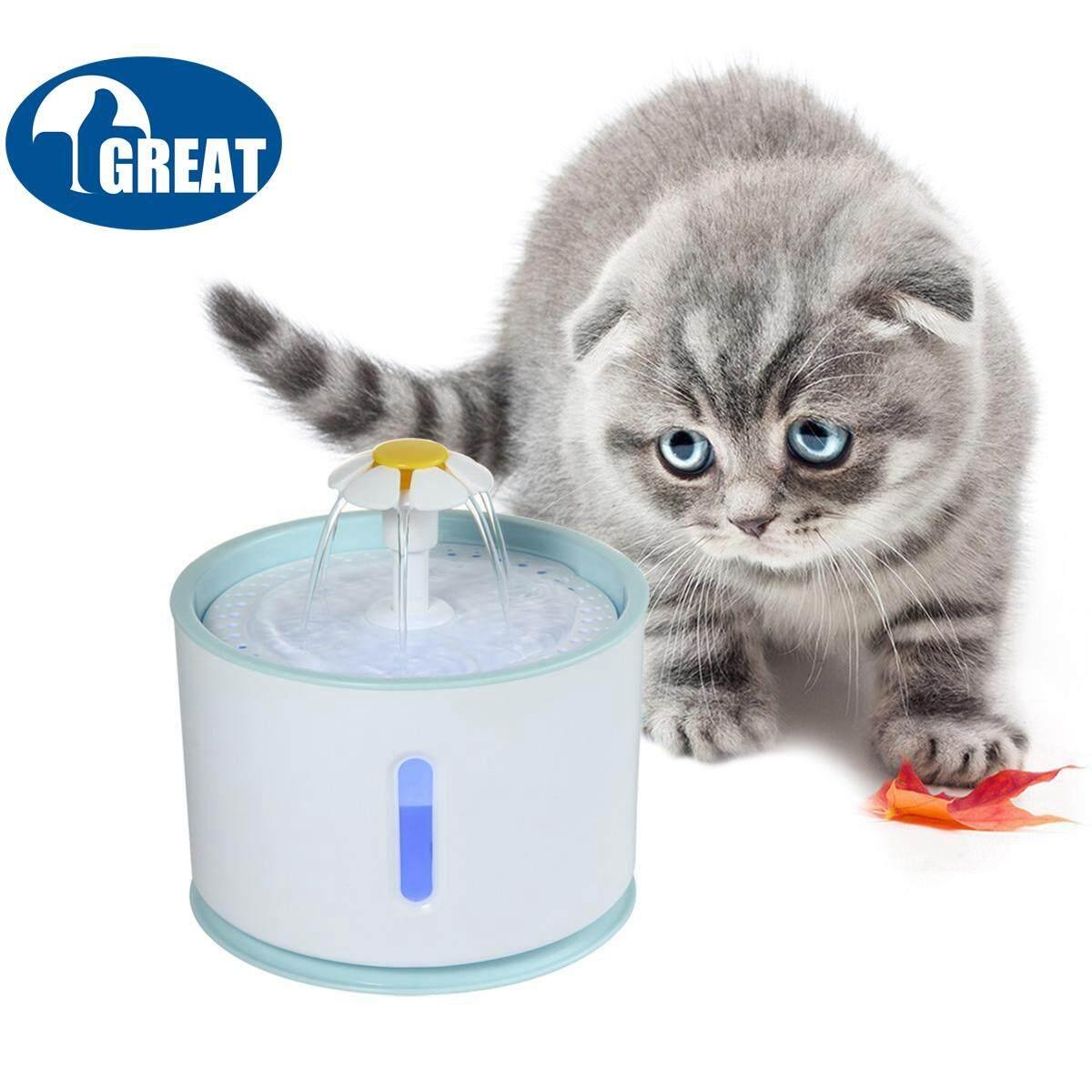 Goodgreat อัพเกรด 2.4l Led Cat น้ำพุพร้อมตัวกรองถ่าน, ส่องสว่างอัตโนมัติที่ให้อาหารสัตว์น้ำ - เงียบมากและ Hygienic แมวน้ำพุดอกไม้สำหรับสุนัขและแมว By Good&great.