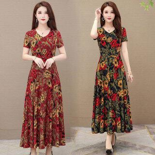 Váy JS Cho Nữ, Váy Dài Qua Đầu Gối Mỏng In Hoa Cổ Chữ V Ngắn Tay Dáng Rộng Hàn Quốc Chữ A thumbnail