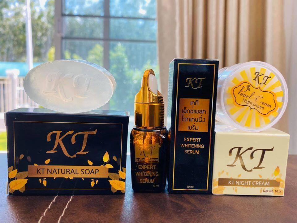 3ชิ้น เซรั่มKT+ไนท์ครีมKT+สบู่KT รับประกันของแท้100% ส่งฟรี่เคอรี่ KT Cream เคที KT Byบ้านครีมกระต่ายขาว ครีมรักษาสิว ครีมรักษาฝ้า ครีมบำรุงหน้าขาวใส รักษา สิว ฝ้า กระ จุดด่างดำ หน้าหมองคล้ำ กระชับรูขุมขน ktcream creamkt ครีมkt ktครีม ครีมเคที เคทีครีม