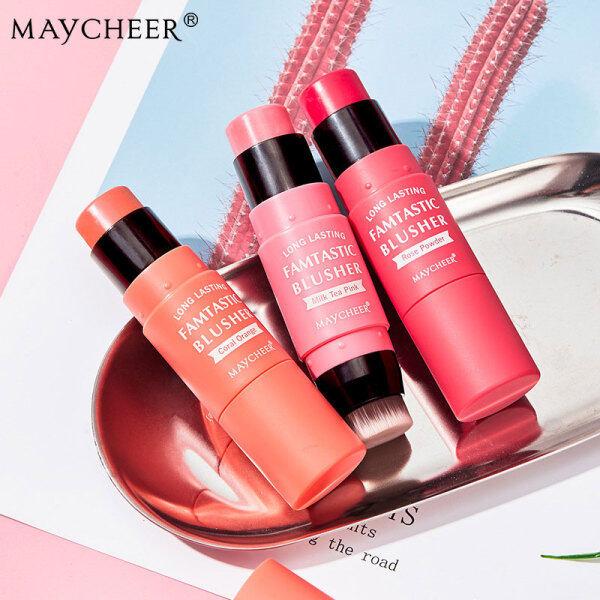 Phấn má hồng dạng kem MAYCHEER Phấn má hồng màu cam Coral Phấn má hồng tự nhiên Monochrome Rouge Stick kèm cọ