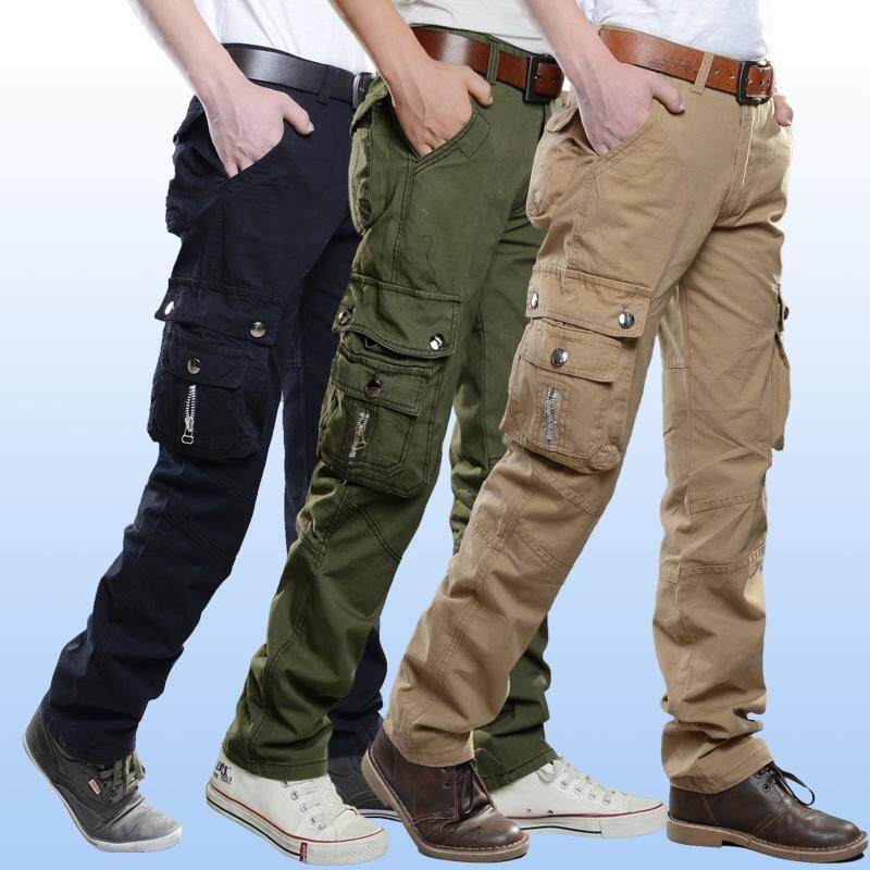 34a424d7d75 Spring Clothing Outdoor Bags Casual Pants Fashion Man Medium Waist Slim Fit  Straight Leg Solid Color
