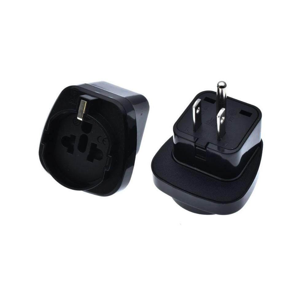 หัวแปลงปลั๊กไฟ Eu เป็น Us พร้อมปลั๊กขากราวด์  Eu To Us American Plug Adapter หัวแปลงเพิ่มขากราวด์ปลั๊ก.