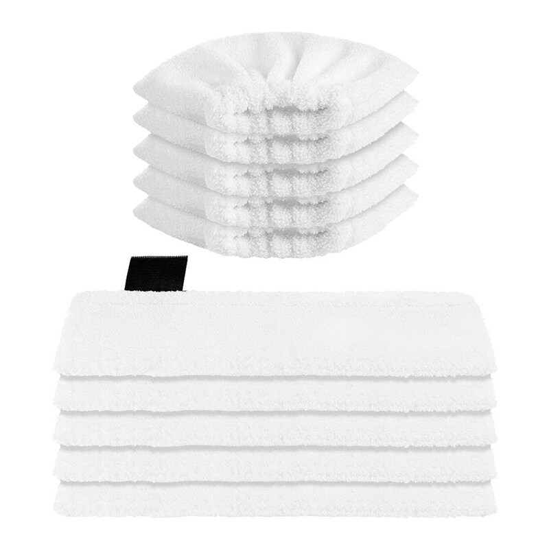 Washable Microfibre Cloth (5 for Floor Nozzles + 5 for Hand Nozzles) for Karcher EasyFix SC2,SC3,SC4,SC5 Steam Cleaners