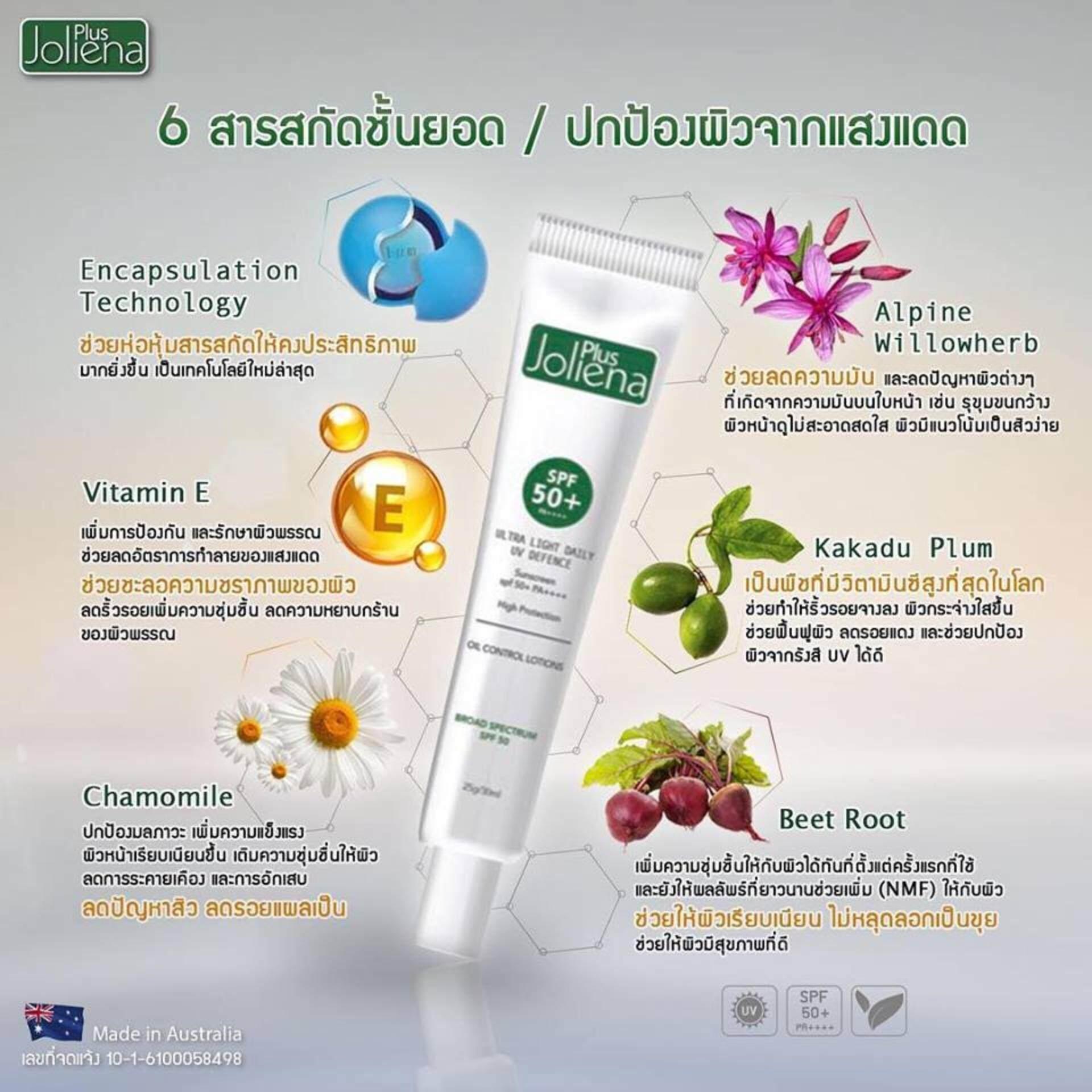 (ของแท้ 100%) ครีมกันแดดโจลีน่า Joliena Plus Ultra Light Daily UV Defence Sunscreen SPF 50 PA++++ (1 หลอด)