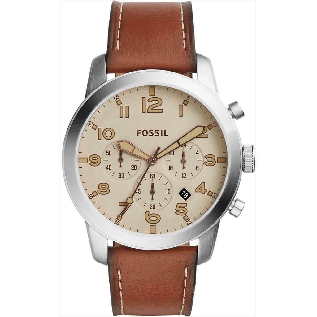 Fossil Pilot 54 Beige Dial Chronograph Leather Strap Men's Watch FS5144