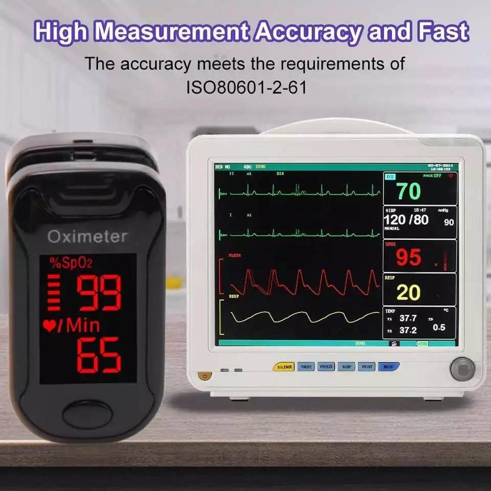 สีดำ เครื่องวัดออกซิเจนในเลือด วัดออกซิเจน วัดชีพจร Fingertip Pulse Oximeter อุปกรณ์ตรวจวัดชีพจร เครื่องวัดออกซิเจนในเลือด Heart Rate Monitor Medical Blood Oxygen