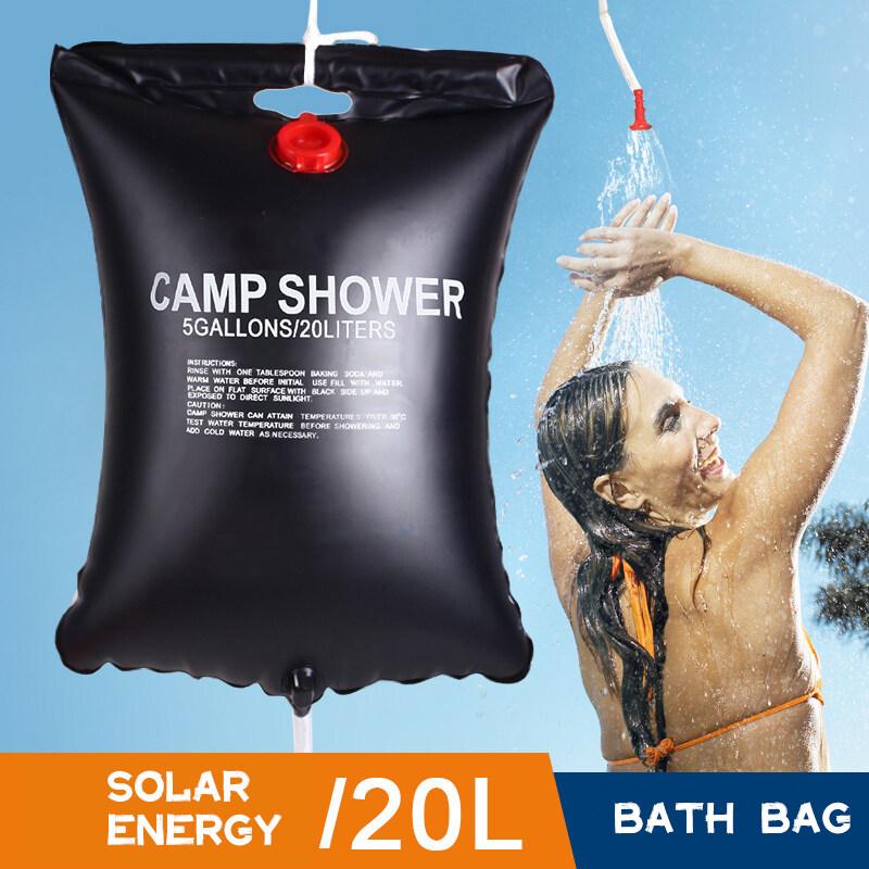Aico ถุงน้ำ ถุงอาบน้ำ ถุงอาบน้ำแค้มปิ้ง ถุงอาบน้ำ กลางแจ้ง กลางแจ้งแบบพกพาขวดน้ำร้อนพลังงานแสงอาทิตย์ 20ลิตร Solar Heated Bathing Bag.