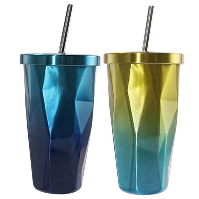 2 Pcs Stainless Steel Tumbler With Straw - Hot And Cold Double Wall Drinking Cups Coffee Mugs 500ml Irregular Diamond With Lid, 1 Pcs Gold + Blue & 1 Pcs Blue.