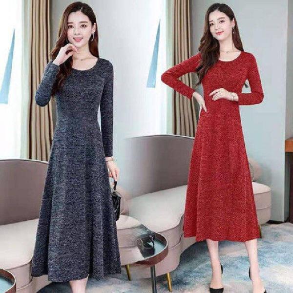 Trang phục kiểu mới váy cổ áo cổ áo phụ nữ lớn cỡ áo, tính khí thời trang giữa váy dài, kiểu thắt lưng, váy trung niên, váy MDI