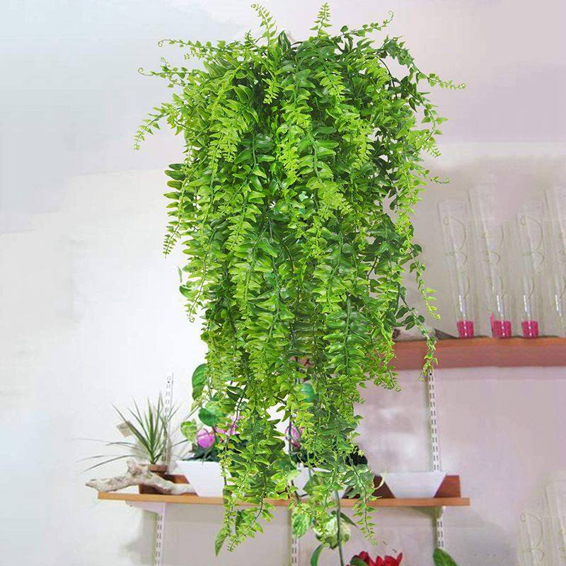 Plants Vines Fern Persian Rattan Fake Hanging Plant faux hanging Boston ferns flowers Vine Outdoor Plastic Plants for Wall Indoor Hanging Baskets Wedding Garland Decor-2 pcs