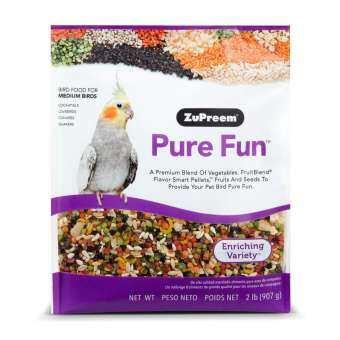 ซูพรีม Pure Fun สูตรผลไม้+ผัก+เมล็ดธัญพืช สำหรับนกกลาง ค๊อกคาเทล เลิฟเบิร์ด คอนนัวร์ (2lb/907g)-