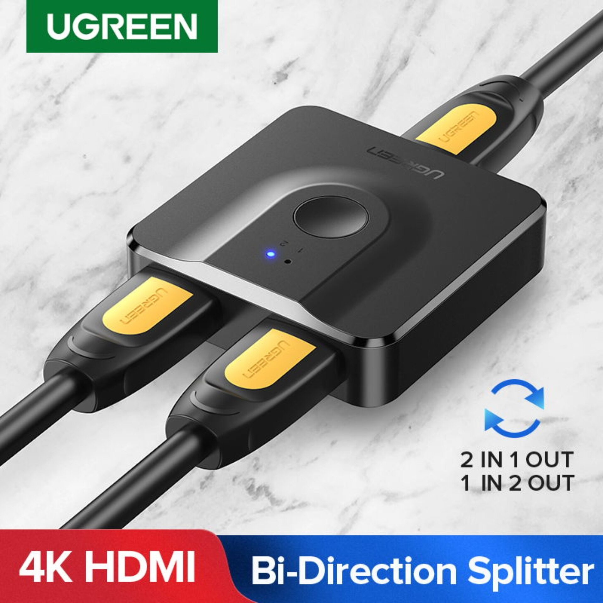 [ugreen] หัวแปลง อะแดปเตอร์ Hdmi คุณภาพ4k 2in1out และ 1in2out สำหรับps4/3 Box มอนิเตอร์รับสส่งภาพทั่วไป Hdmi Splitter 4k Hdmi Switch Bi-Direction.