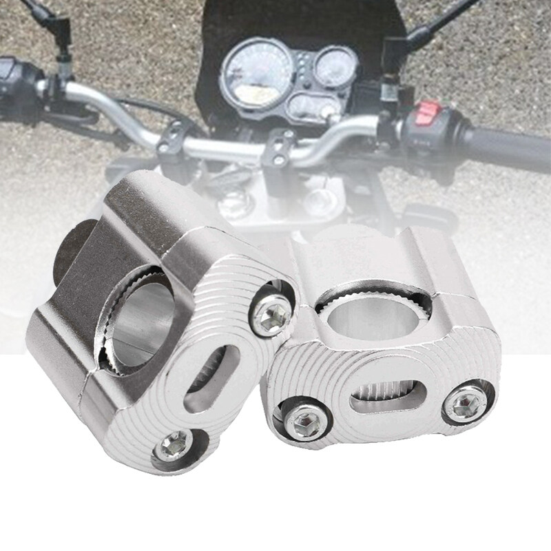 1 Pair Cnc 22Mm 28Mm Off Road Motorcycle Bar Clamps Handlebar Risers Adapter for 7/8 inch 1-1/8 Pit Dirt Motorbike for Harley Kawasaki Suzuki Yamaha Honda Silver