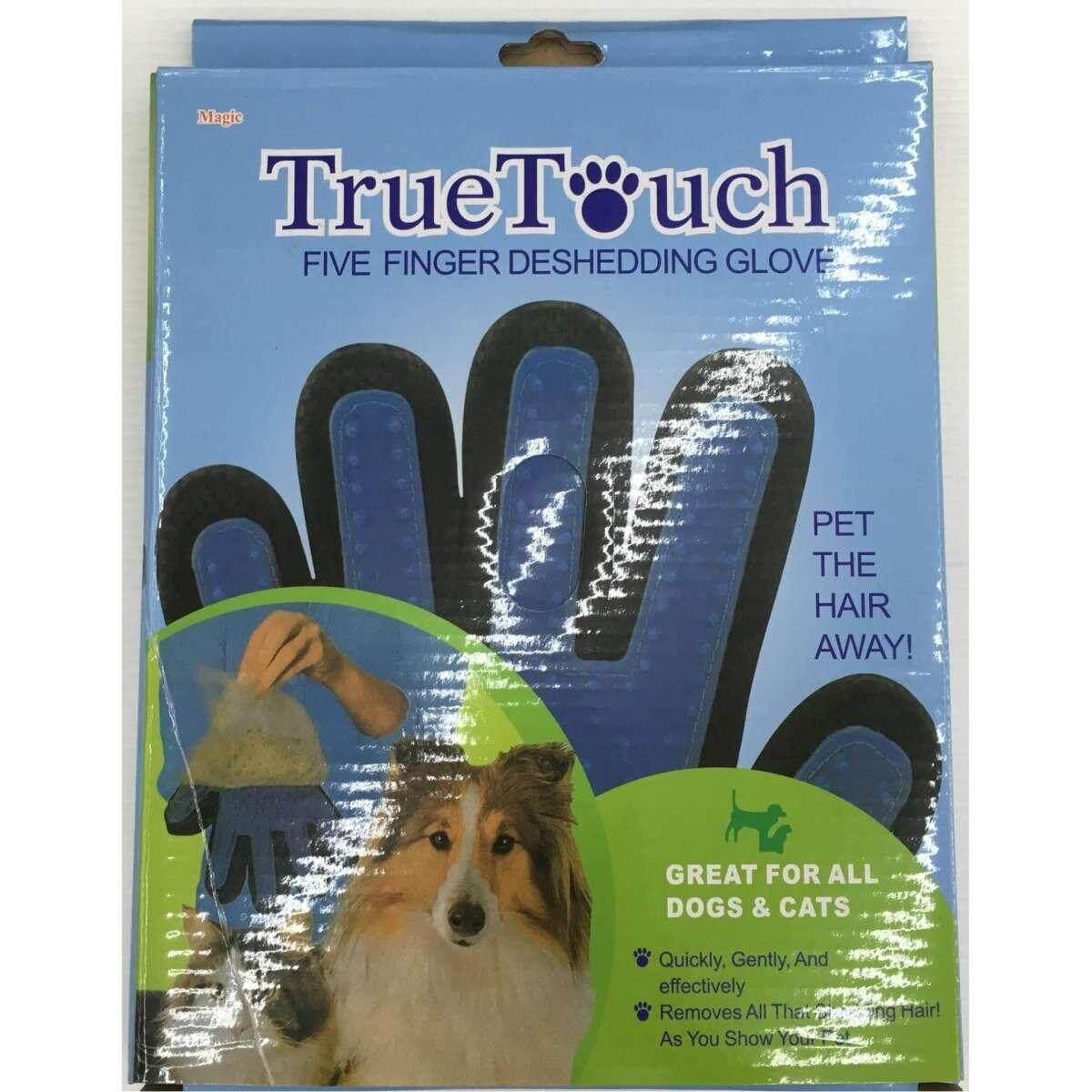 True Touch Five Finger Deshedding Glove ถุงมือ แปรงขนสำหรับสุนัข และแมว 1 ข้าง พร้อมกล่อง By Bomb Petshop.