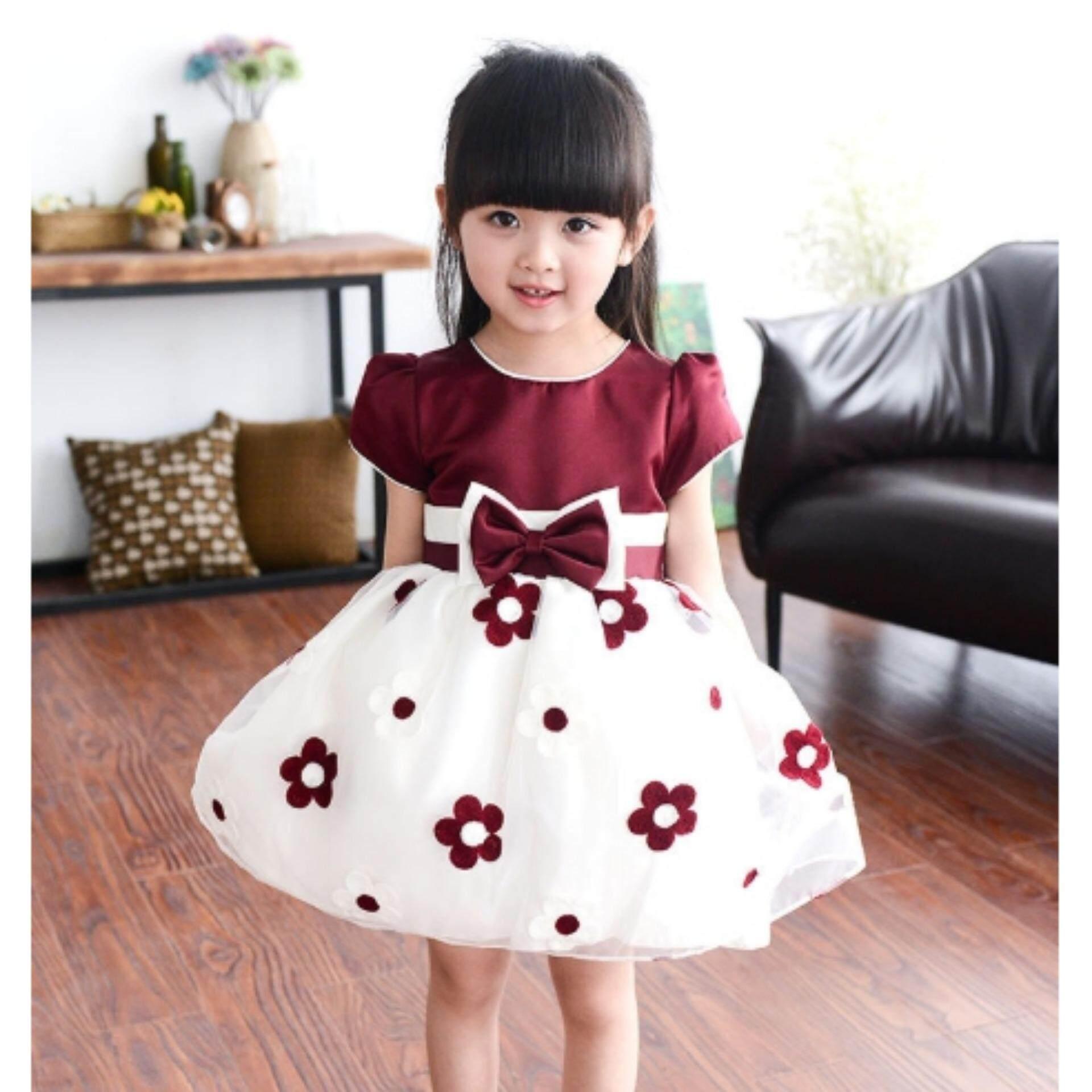 ชุดกระโปรงเด็กผู้หญิง Kids Clothes ลายดอกไม้สุดสวย ไซส์ 70-140 ซม./6 เดือน-10 ปี By Pae Kids Shop.