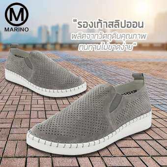 Marino รองเท้า รองเท้าหุ้มส้น รองเท้าสลิปออน รองเท้าหนังPUผู้หญิง No.A043 - Grey