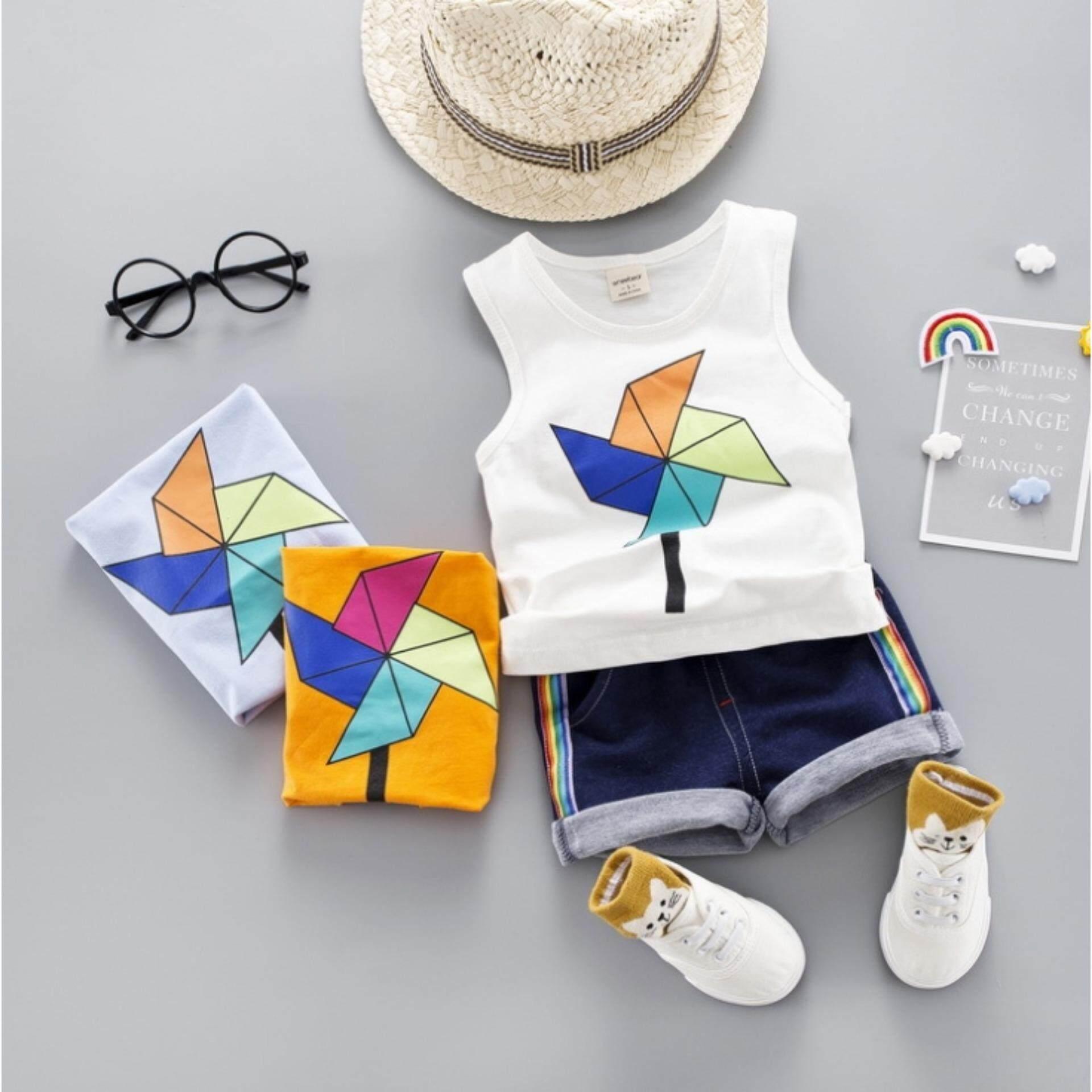 เสื้อกล้าม+กางเกง ลายกังหันสุดน่ารัก Kids Clothes ผ้านุ่มใส่สบาย ไซส์ 70-140 ซม./6 เดือน-10 ปี By Kid Clothes In Thailand.