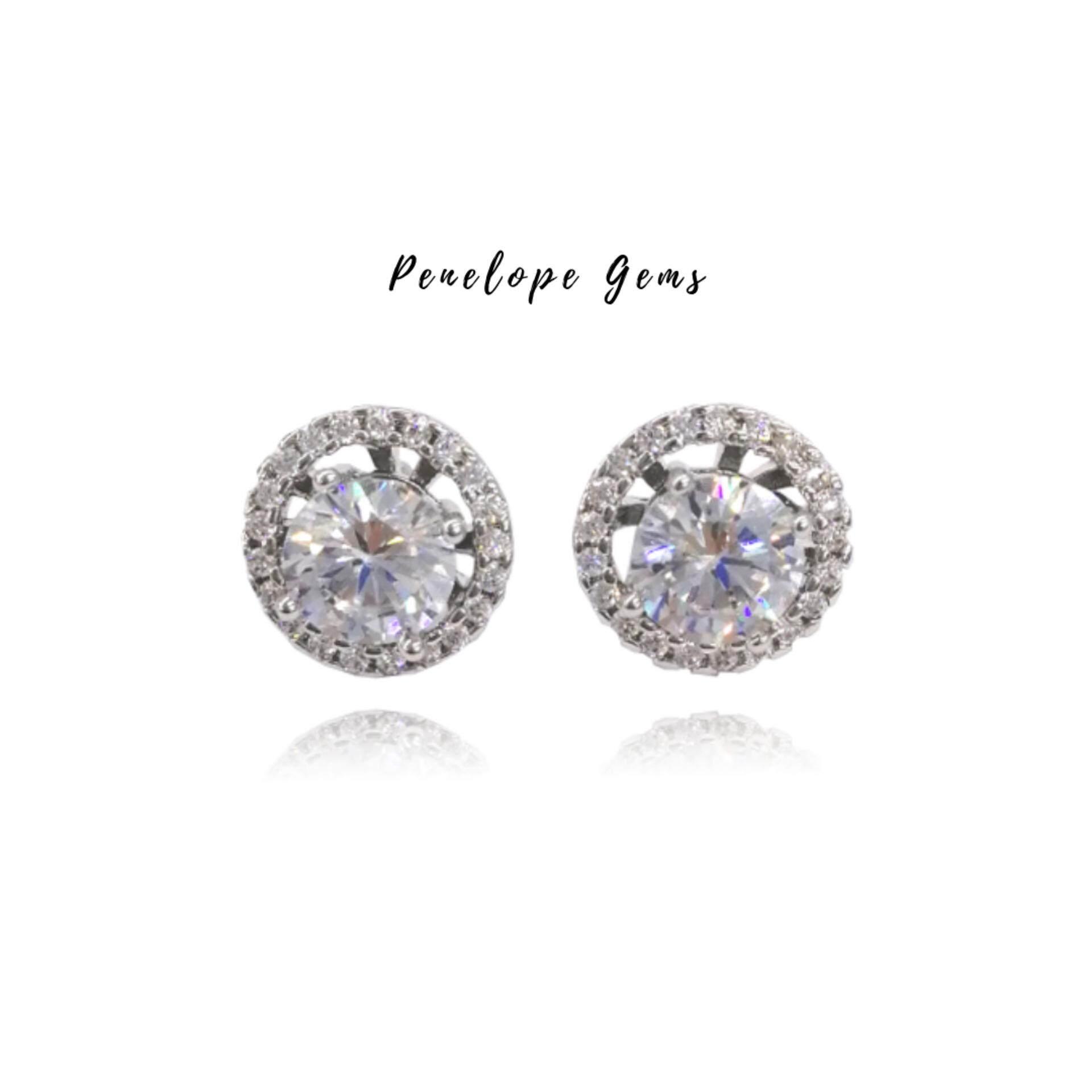 Penelope ต่างหูเพชรล้อมcz ใส่ได้ 2 แบบ ชุบทองคำขาว ก้านเงินแท้ Swarovski Earrings ต่างหูแฟชั่น ต่างหูเงินแท้ ต่างหูเงิน ต่างหูเกาหลี ต่างหูแป้น ต่างหูผู้หญิง By Penelope Gems.