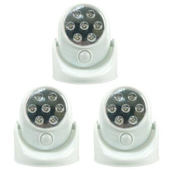 Eagocraft LED Motion Sensor ไฟเซ็นเซอร์ 7 LED ตรวจจับการเคลื่อนไหวปรับระดับ180°( แพ็ค 3 ชิ้น-white)