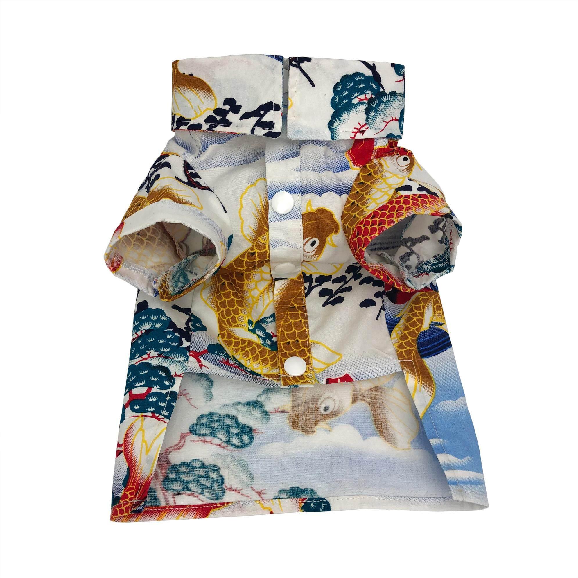 เสื้อผ้าสัตว์เลี้ยง เสื้อผ้าสุนัขแมว เสื้อเชิ้ตหมาแมวสไตล์ญี่ปุ่น.