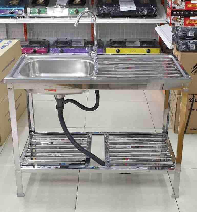 Daimon ตราเพชร ซิงค์ล้างจาน พร้อมก๊อกน้ำ อ่างสแตนเลสทั้งตัว ขนาด 100x50x77 ซม.